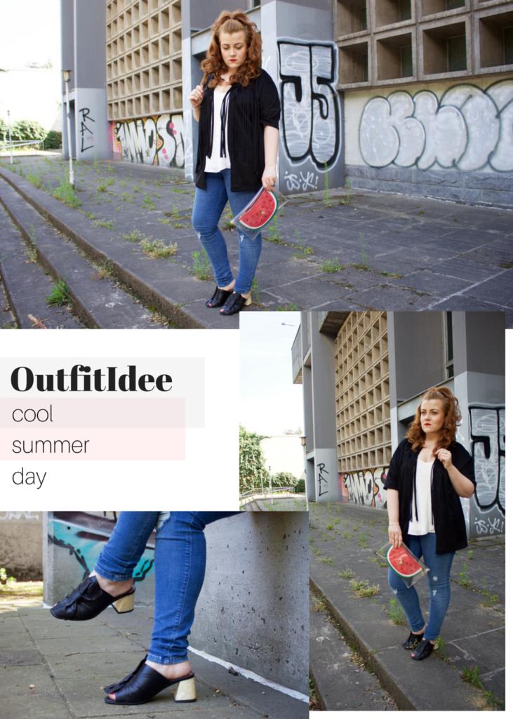 Collage mit Inspirationen: Outfitidee für einen kühlen Sommertag
