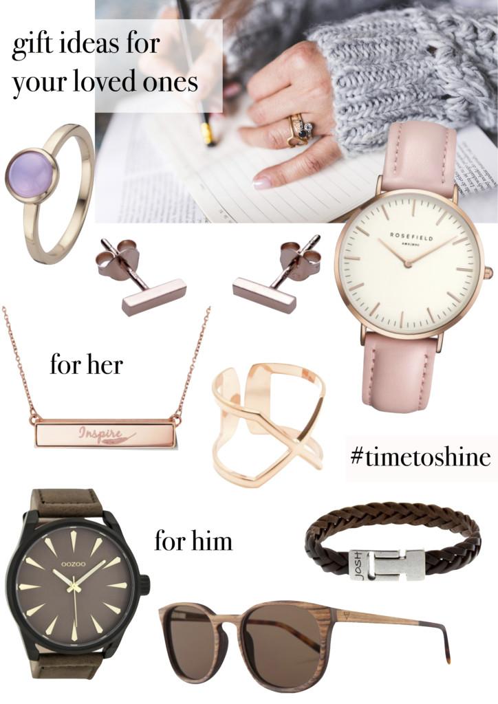 Schmuck, Uhren, Sonnenbrille : Geschenkideen zu Weihnachten von Brandfield #timetoshine - Gewinnspiel Collage - Fashion Blogger Leipzig