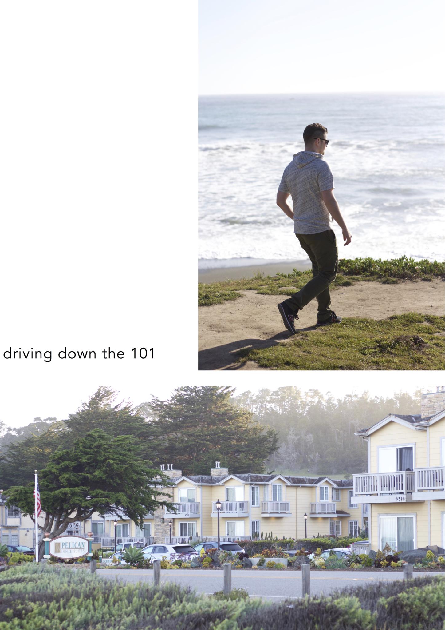 """Beitrag: """"travel thoughts: Wenn du bereits am ersten Tag angekommen bist"""" mit Reisetipps Highways Nummer 1 und 101 entlang der kalifornischen Küste - Collage mit Reiseinspirationen"""