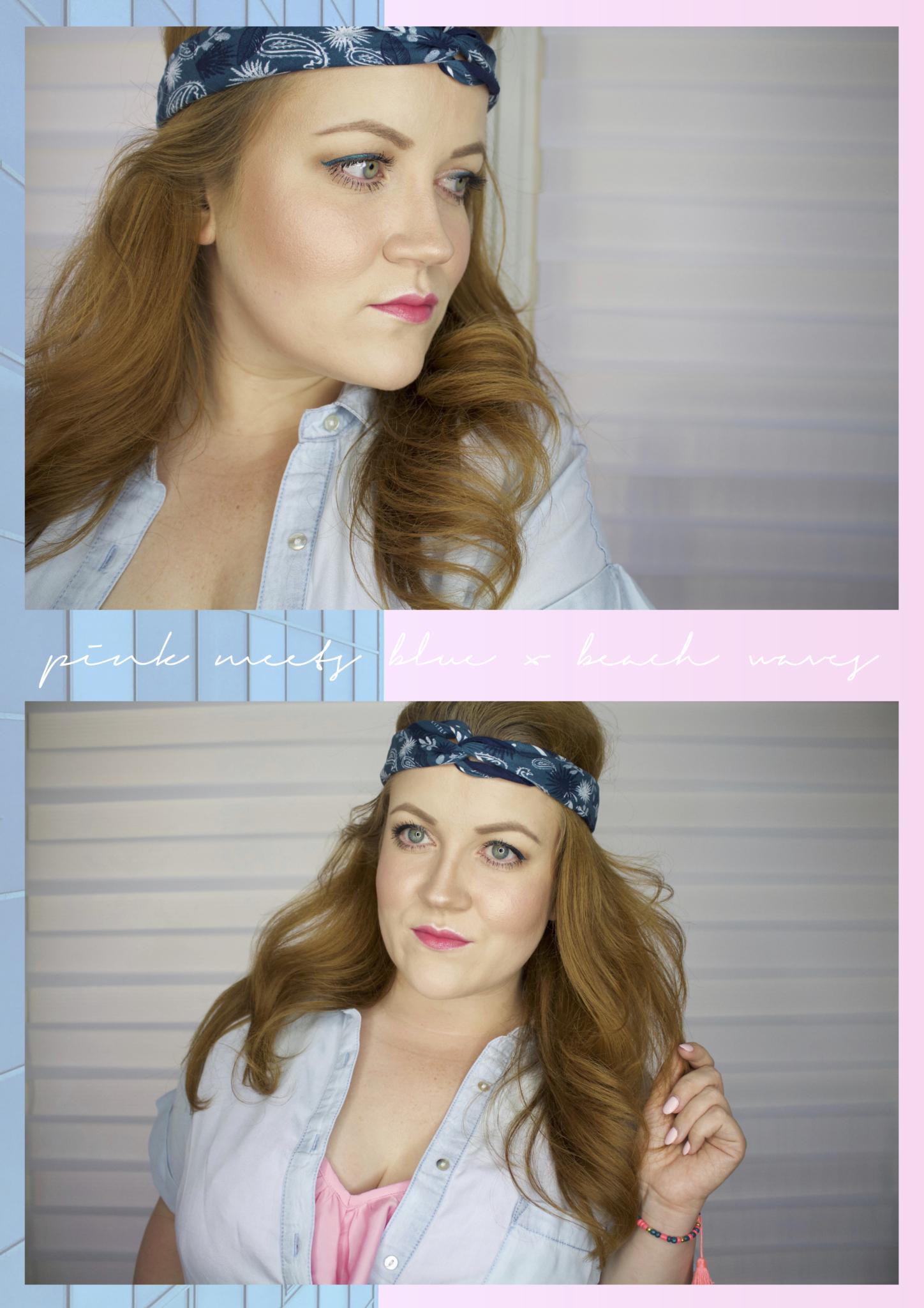 Collage mit Detailaufnahmen vom Look: pink meets blue: Sommer make-up look für Rothaarige | Typgerecht - Beauty Blog Leipzig Deutschland Bild 1