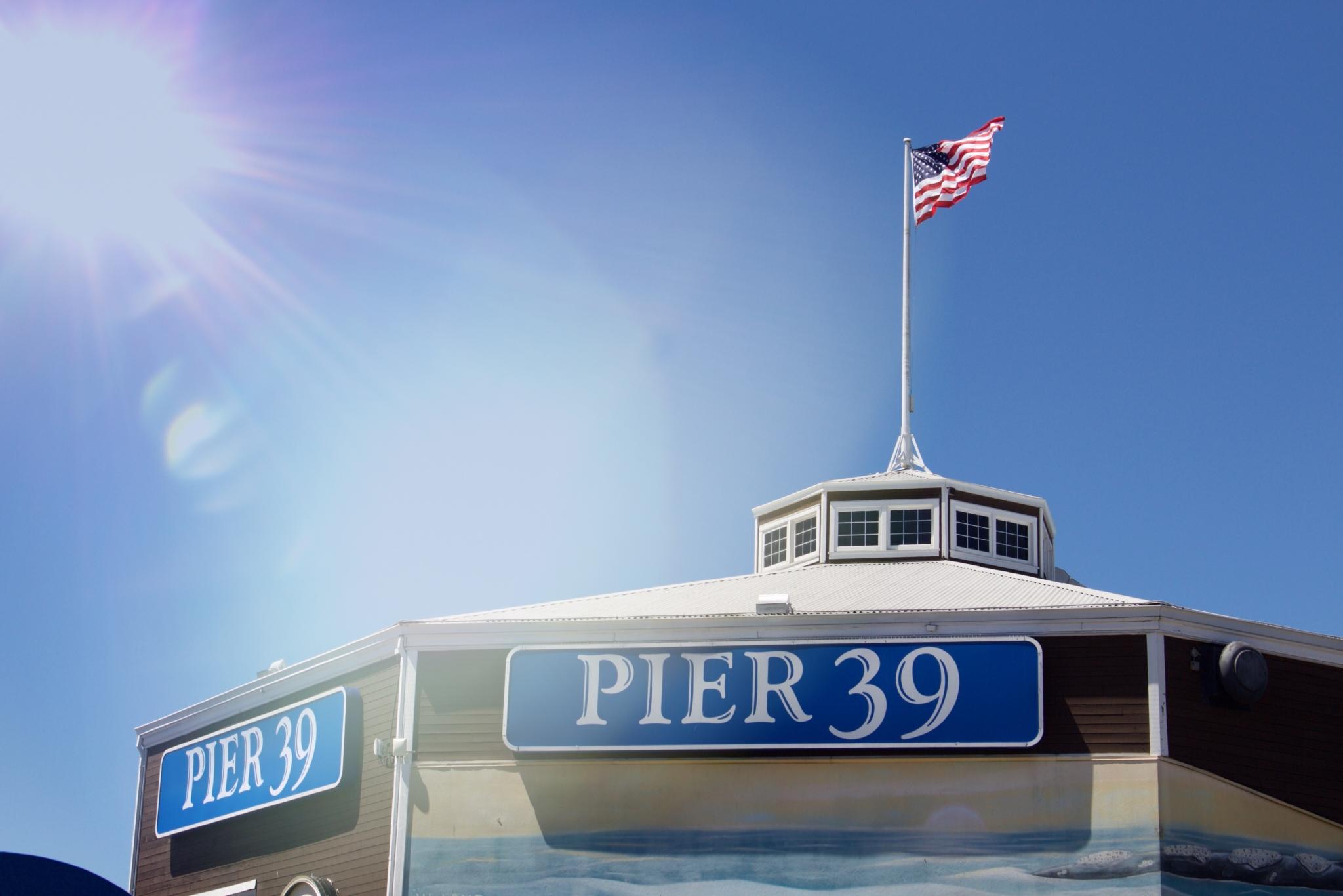 Pier 39 Schild mit Sonnenschein - Ein Tag am Pier 39 in San Francisco - Erlebnisse und 5 Tipps für einen Tag am Pier 39 - Reise Blogger Tipps
