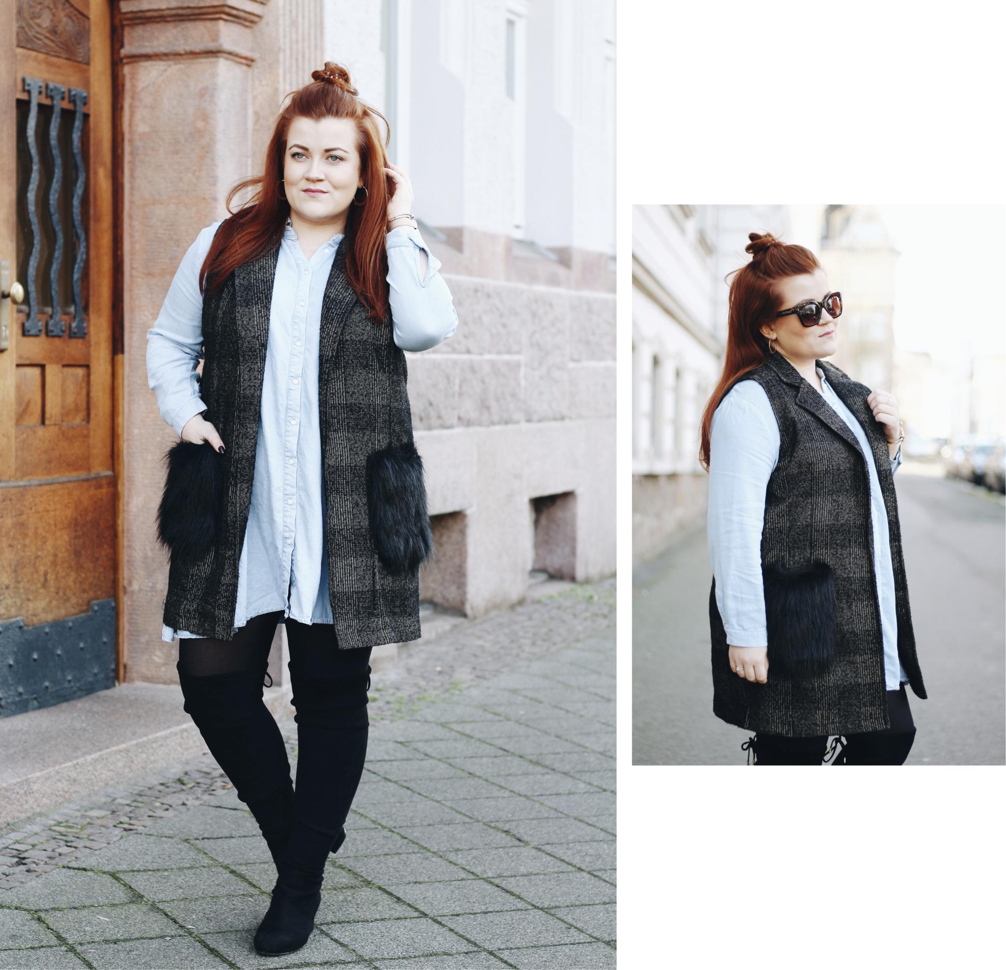 Collage mit Outfit-Details: Outfit Inspiration: So trage ich lange Westen mit Fake Fur - Kunstfell - Fashion Blog aus Leipzig