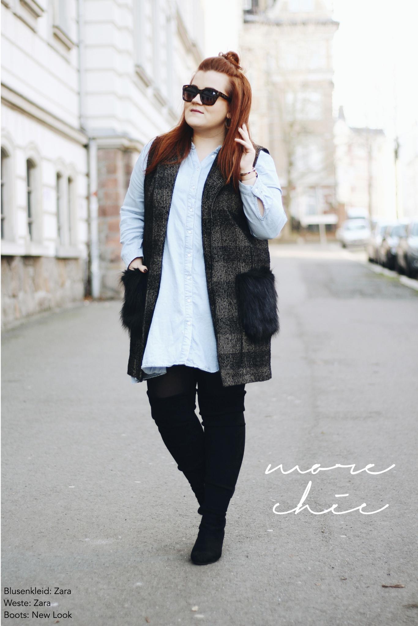 Details vom Outfit: Outfit Inspiration: So trage ich lange Westen mit Fake Fur - Kunstfell - Fashion Blog aus Leipzig