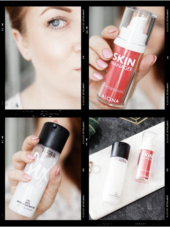 Collage mit Produkten und Tipps gegen glänzende Haut und Stirn