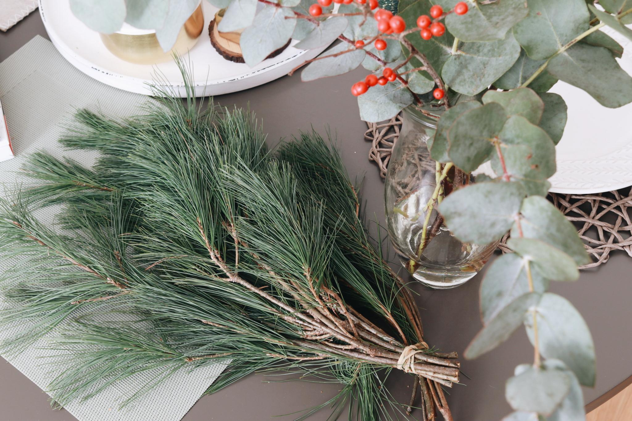 Kiefernzweige und Eukalyptus für einen DIY Adventskalender im Skandinavischen Design