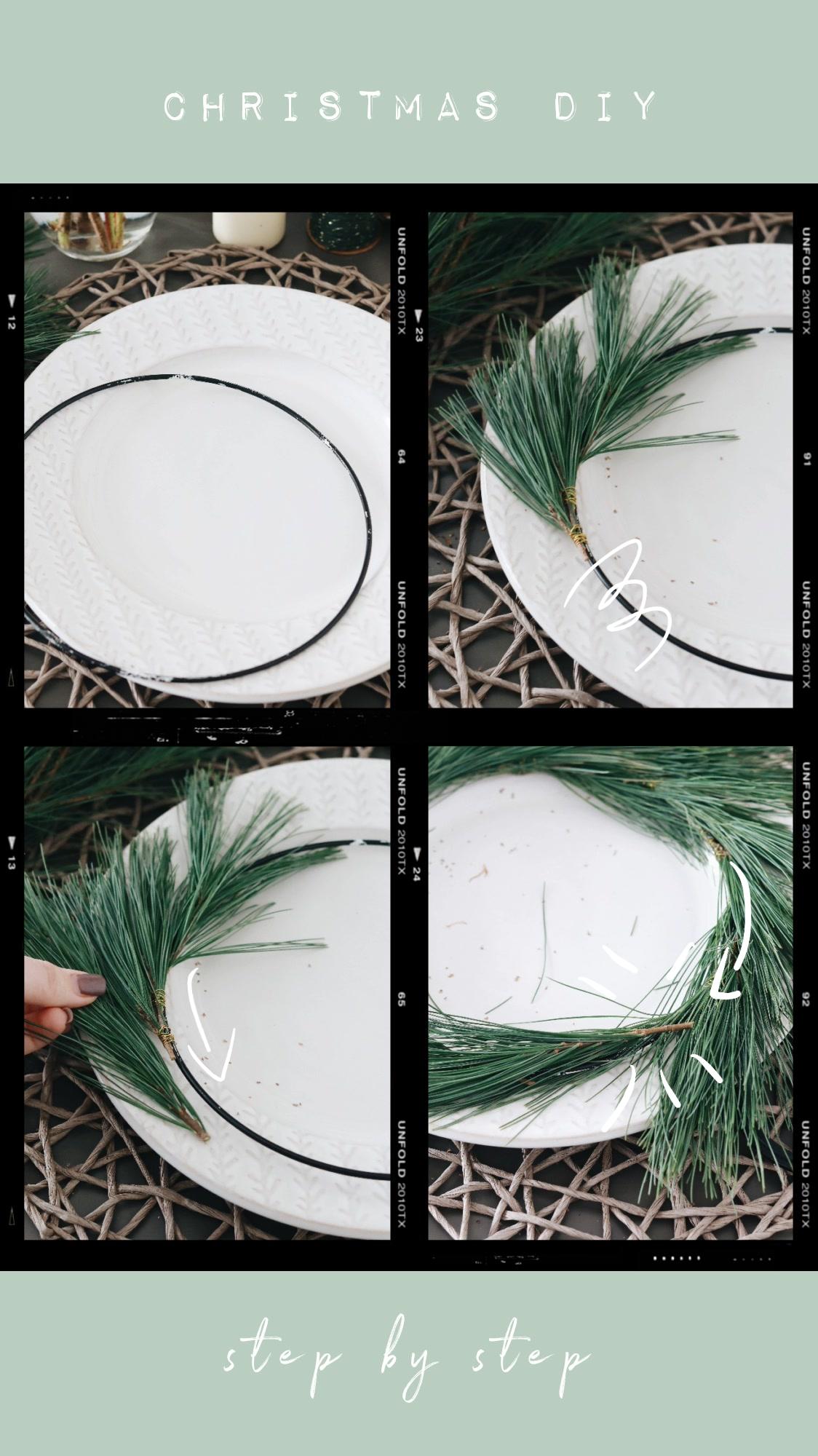 Schritt-für-Schritt Anleitung für einen DIY moderner Adventskranz mit Eukalyptus und Kiefernzweigen im Scandi Style