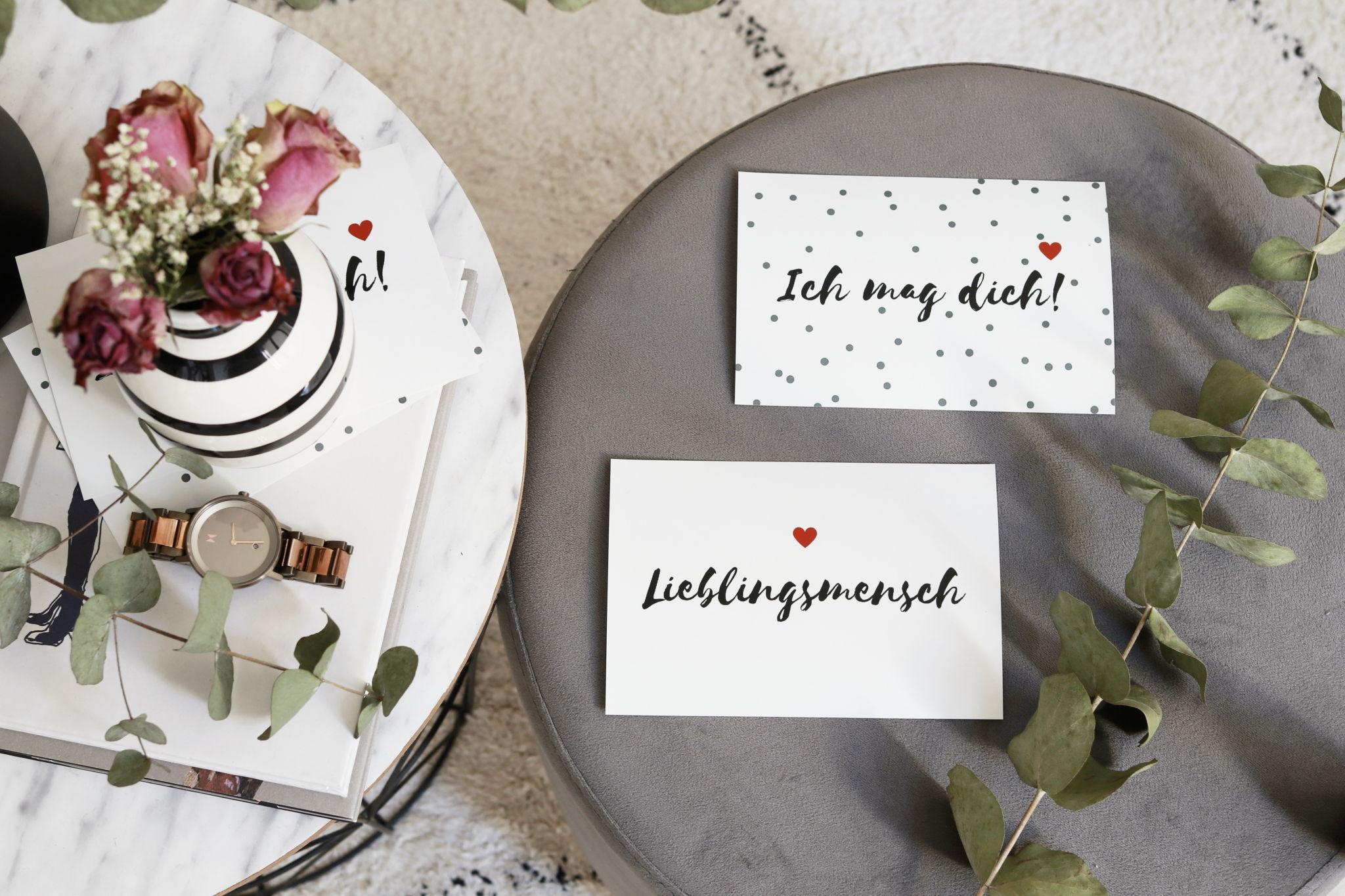 """Hübsche Valentinstagskarten zum Gratis-Download """"Lieblingsmensch"""" und """"Ich mag dich!"""" - minimaoistisches Design für Verliebte"""