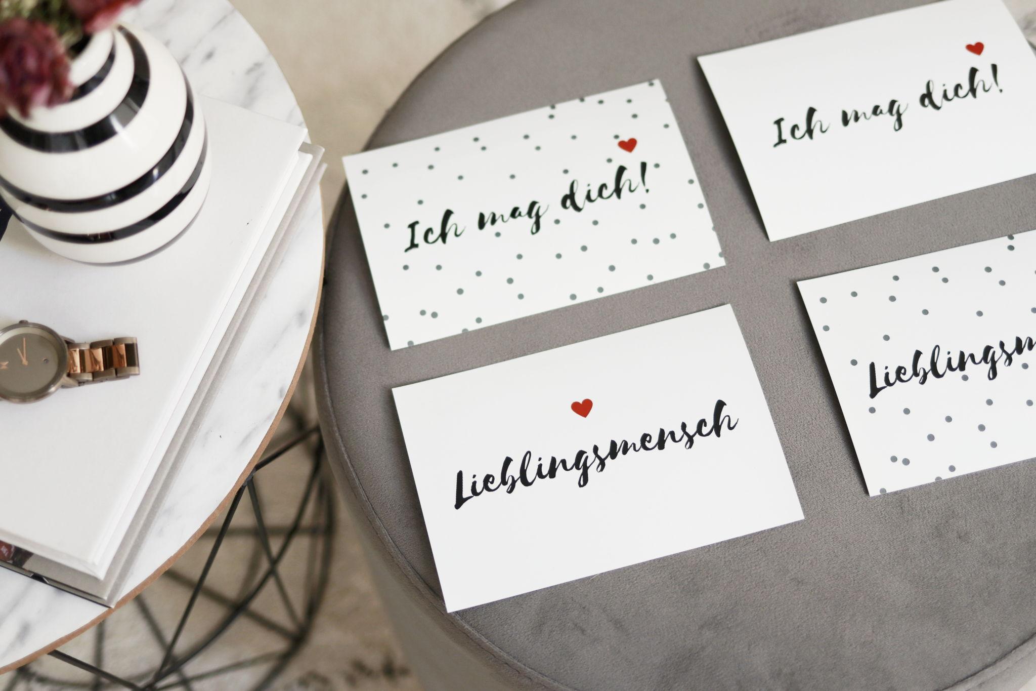 """Hübsche Valentinskarten zum Gratis-Download """"Lieblingsmensch"""""""
