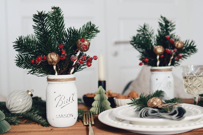 DIY Centerpiece Tischdeko Weihnachten: festliche Tischdekoration für Weihnachten
